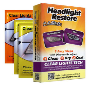 Lot Of 28 Car Headlight Lens Uv Protection Wipes Restore Kit Cleaner