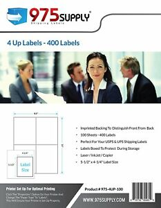 975 Supply Shipping Labels For Inkjet laser 4up 5 5 X 4 25 400 Labels pack