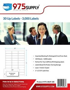 3 000 Labels For Inkjet Laser 30up For Amazon Fba 1 X 2 5 8 By 975 Supply