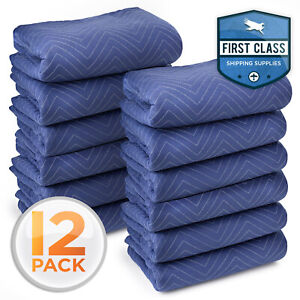 12 Moving Blankets Furniture Pads Deluxe Pro 80 X 72 Royal Blue