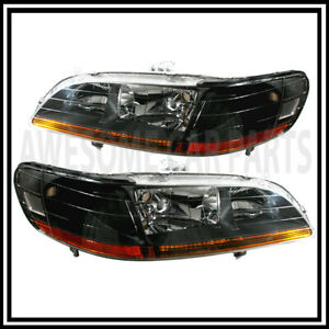 For 98 02 Honda Accord Black Jdm Headlight Headlamp Pair Set Amber Reflector