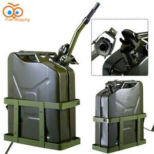 Jerry Can 5 Gallon Gas Fuel Army Nato Military Metal Steel Plus Tank Holder Set