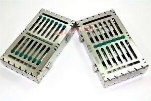2german Dental Autoclave Sterilization Cassette Rack Tray For 7 Instrument Green