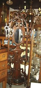 Antique Victorian Walnut Hall Tree With 7 Wooden Turned Hooks 7627
