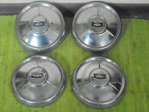 1954 Chevrolet Dog Dish Hubcaps 10 1 2 Set Of 4 Chevy Hub Caps 54