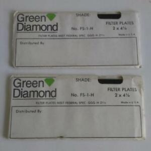 2 Green Diamond Welder Helmet Cover Lens Nos Vintage