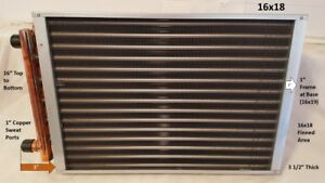 Water To Air Heat Exchanger 16x18 1 Copper Ports