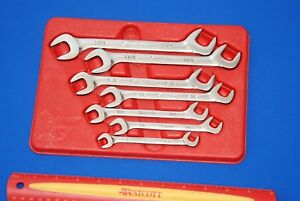 Snap On 7 Piece 4 Way Angle Head Sae Open End Wrench Set Vs807b Ships Free