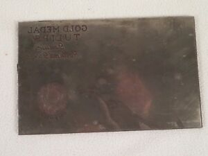 Etching Engraved Printing Machine Press Plate Stamp Gold Medal Tulips Red
