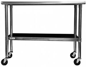 Rolling Metal Prep Table Stainless Steel Wheeled Kitchen Shop Cart 48 X 24 Inch