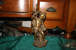 Antique Victorian Decorative Boy Bronze Brass Light Fixture Lamp Base