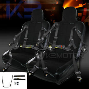 Jdm Black Pvc Off road Bucket Style Sport Racing Seats 4 pt Seat Belts Pair