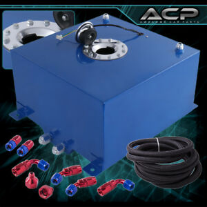 40l 10 Gallons Blue W Chrome Cap Fuel Cell Tank Braided Oil Line 10an Fitting
