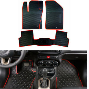 3pcs Rubber Floor Mats All Weather Front Rear Liners Carpet For Jeep Renegade b