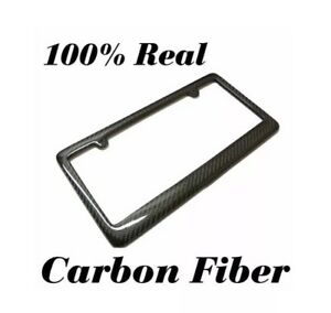 Real 100 Carbon Fiber License Plate Frame Tag Cover Original 3k Twill Jdm Ff