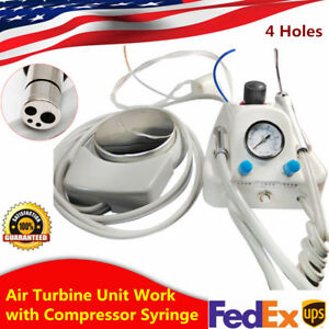 Dental Portable Air Turbine Unit Work With Compressor 4 Holes Dentist Syringe Us