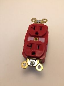 Box Of 10 Red Hubbell Duplex Receptacles New Hbl5362r 20a 125v 3p
