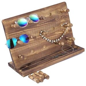 Rustic Burnt Wood Retail Jewelry Display Stand Sunglasses Eyewear Hanger With