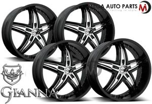 4 X Gianna Blitz 24x10 Blank 12 Offset 73 1 Hub Black Wheels Rims