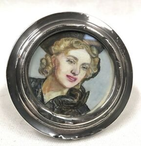 1917 London Sterling 925 Silver Photo Frame Antique Vtg Round Old Classic