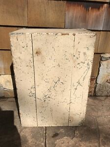 Early Hanging Antique Primitive Wall Cabinet Cupboard Crackled White Paint Farm