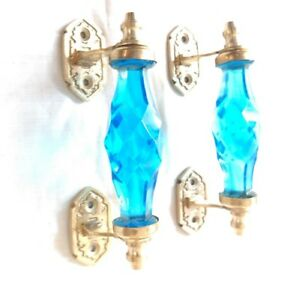 2 Ps Sky Blue Glass Door Handle W Brass Puller Cabinet Kitchen Knobs Home Decor