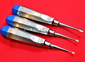 German 3 Pcs Veterinary Dental Extracting Wing Winged Tip Elevator 2 5mm 3mm 4mm