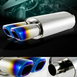 3 Dual Square Blue Burnt Tip 2 5 Inlet Stainless T304 Racing Exhaust Muffler