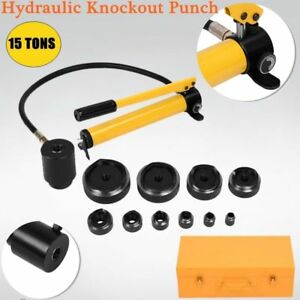 15 Ton 10 Dies Hydraulic Knockout Punch Driver Kit Hand Pump Hole W Metal Case