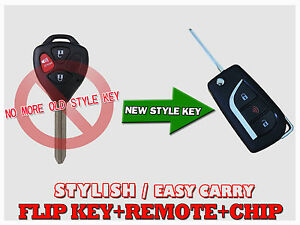 New Flip Uncut Oem Chip Key Remote Entry Fob Control For Toyota Rav4 Krv
