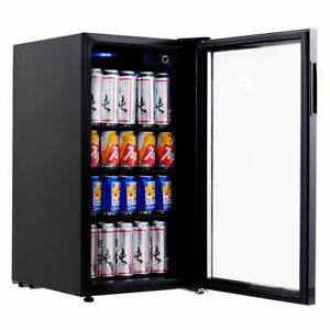 120 Can Beverage Refrigerator Mini Fridge Beer Wine Soda Drink Cooler Glass Door