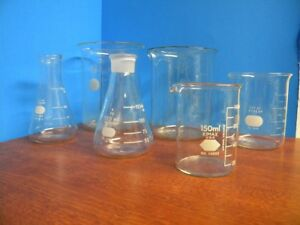 Lot Of Vintage Laboratory Glassware Kimax Pyrex Beakers Used