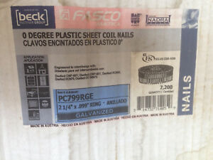 Coil Nails 2 1 4 X 099 Ring Shank Zero Degree For Duo fast Guns 7 200 Nails