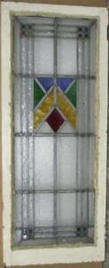 Large Old English Leaded Stained Glass Window Pretty Geometic 18 X 44 75
