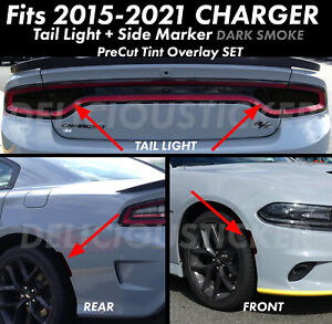 For 15 2021 Charger Rear Tail Light Side Marker Smoke Overlays Precut Tint Vinyl