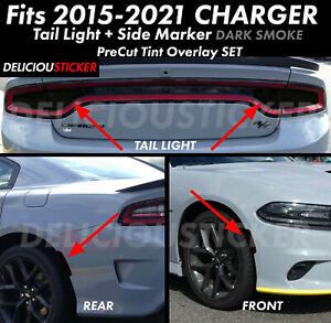 2015 2018 Dodge Charger Rear Tail Light Side Marker Smoke Overlay Precut Set Kit