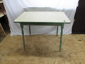 Vintage Shabby Chic Enamel Porcelain Top Wooden Table S113