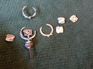 Vintage Lot Of 7 Cadillac De Ville Emblems Hood Ornament Hot Rat Rod