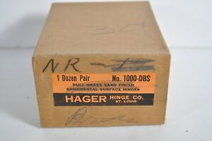 Vintage Nos Hager Hinge Co Dull Brass Ornamental Surface Hinge Four