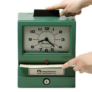 Acroprint Model 125 Analog Manual Print Time Clock With Date 0 12 Hours minutes