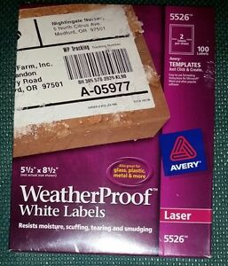 Avery Weatherproof Laser Shipping Labels 5 5 X 8 5 inches Pack Of 100 5526