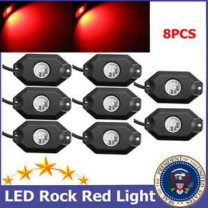 8x Red 3 Cree Led Rock Lights 9w For Jeep Boat Truck White Blue Green Availabe