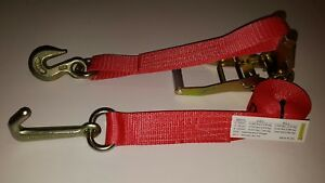 2 Red J Hook Ratchet Straps Car Hauler Tow Flatbed Trailer Tie Down