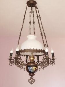 Fabulous Antique French Converted Oil Lamp Chandelier