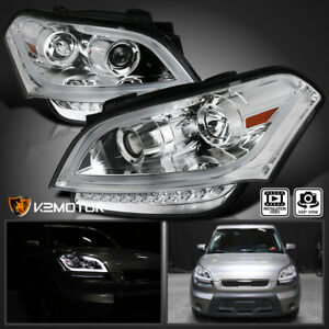 For 2010 2011 Kia Soul Led Light Bar Crystal Clear Projector Headlights Pair