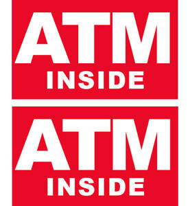 2 Pack 3x5 Inch Atm Inside Sticker Sign Business Store Window Decal Rb