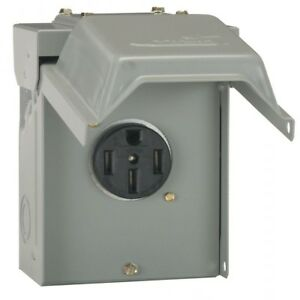 50 Amp Temporary Rv Power Outlet Hookup Outdoor Receptacle Plug Housing Box