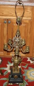 Antique Victorian Bronze Marble 5 Arm Candelabra Table Lamp Faces Trophy Center