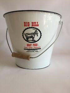 Vintage Look Big Bill Goat Feed Metal Bucket Corn Oats Molasses Sweetwater Tn