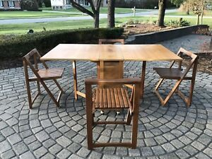 Mid Century Modern Drop Leaf Dining Table With Chairs
